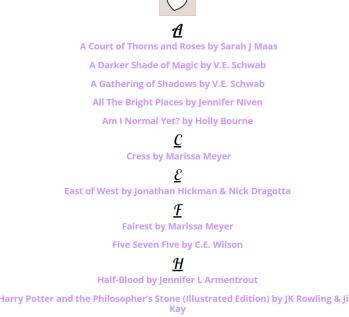 alphabet list