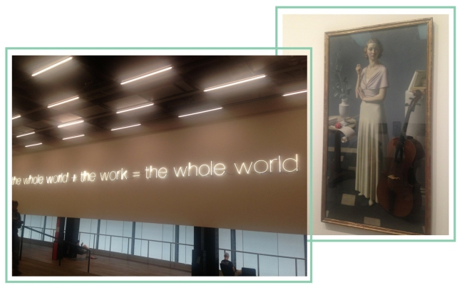 "A collage of two photos from the Tate Modern, a lit sign saying ""the whole world + the work = the whole world"" and a painting of a woman"