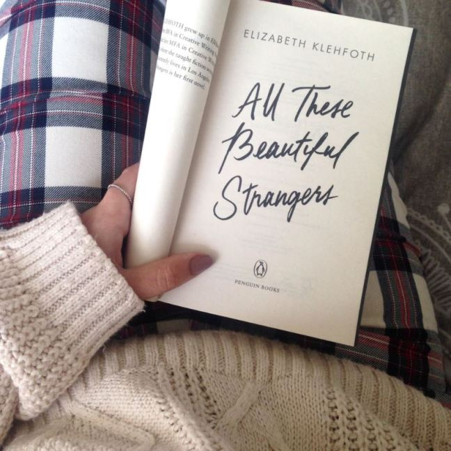 Inside cover of All These Beautiful Strangers by Elizabeth Klehfoth, photo for the book review