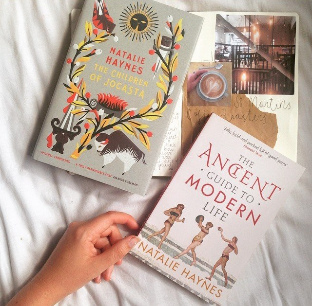 Natalie Hayne's books - The Children Of Jocasta (fiction greek myth retelling) and The Ancient Guide to Modern Life (nonfiction about ancient greece and rome)
