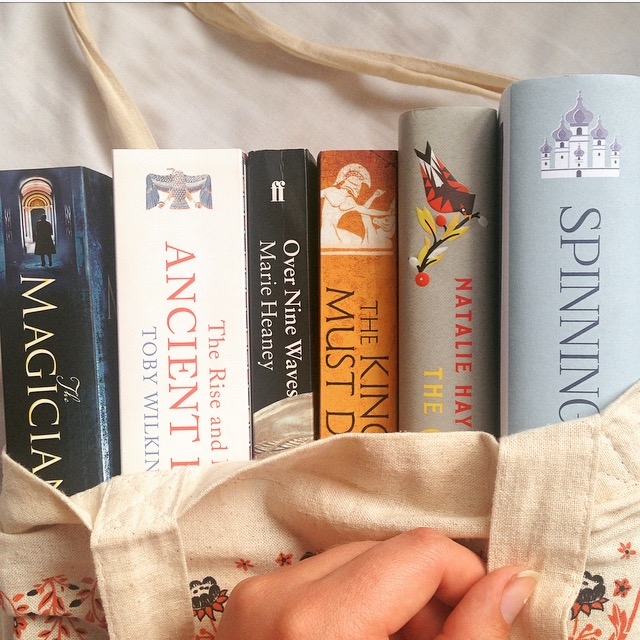 Bag of books - the magicians by Lev Grossman, The Rise and Fall of Ancient Egypt by Toby Wilkinson, Over Nine Waves by Marie Heaney, The King Must Die by Mary Renault, The Children of Jocasta by Natalie Haynes, Spinning Silver