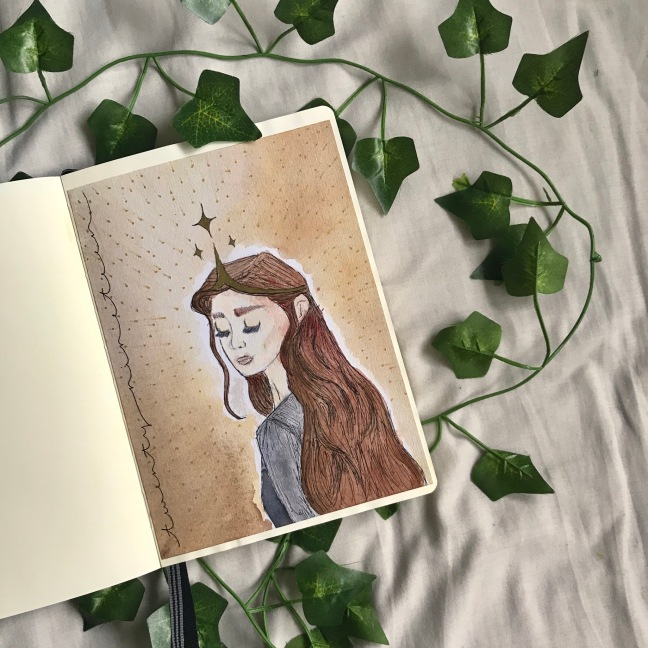 2019 Bullet Journal - title page watercolour of a queen, eyes closed, head positioned as if looking back over her shoulder. Brown tones. Above her crown is three stars, the background is spotted with gold stars