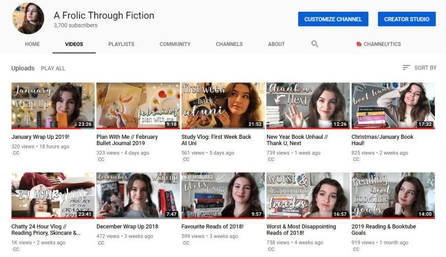 screenshot of my booktube channel, A Frolic Through Fiction