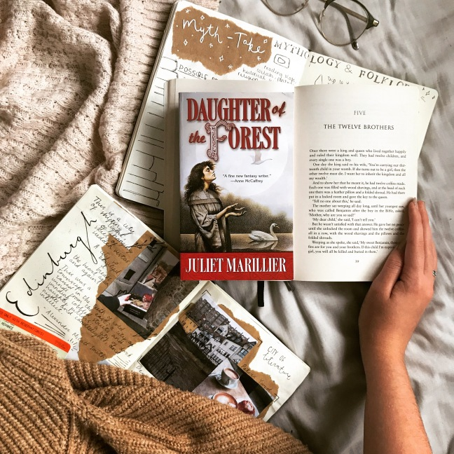 Daughter of the Forest by Juliet Marillier - review image. Read for the book club Myth-Take Reads, The Six Swans retelling and Irish folklore